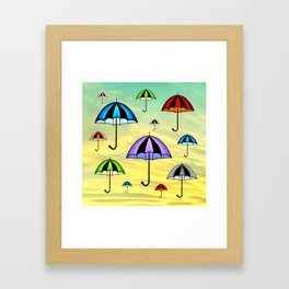Colorful umbrellas flying in the sky Framed Art Print