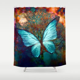 The Blue butterfly Shower Curtain