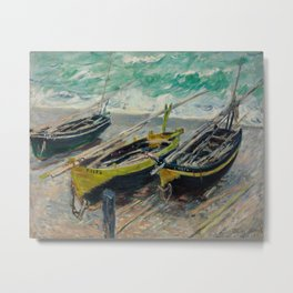 Claude Monet - Three Fishing Boats Metal Print