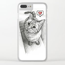 Cute Kitty Cat - Love Me Clear iPhone Case