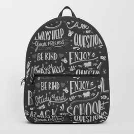 Back to school typography drawing on blackboard with motivational messages, hand lettering Backpack