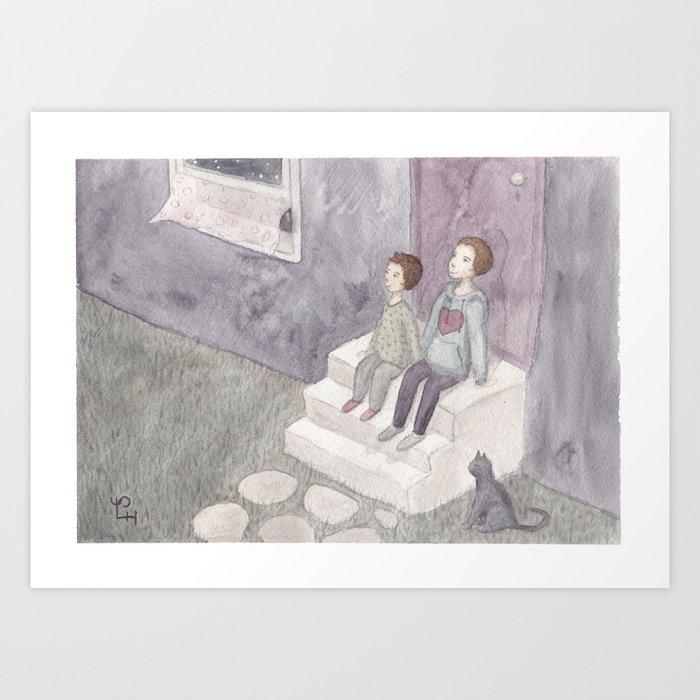 A girl has a sister Art Print