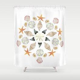 Florida Beachcombing Mandala 1 - Watercolor Shower Curtain