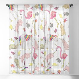 Party Like A Unicorn Sheer Curtain