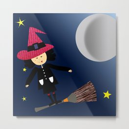 flying witch Metal Print