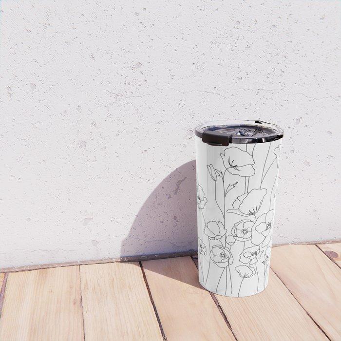 Poppy Flowers Line Art Travel Mug