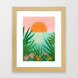 Tropical Views / Pink and Green Landscape Framed Art Print