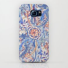 Boho Flower Burst in Red and Blue Galaxy S7 Slim Case