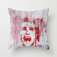 american psycho Throw Pillows featuring AMERICAN PSYCHO by John McGlynn