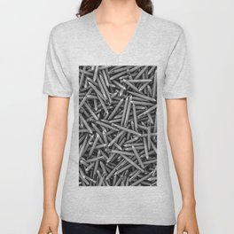 Pencil it in B&W / 3D render of hundreds of pencils in black and white Unisex V-Neck