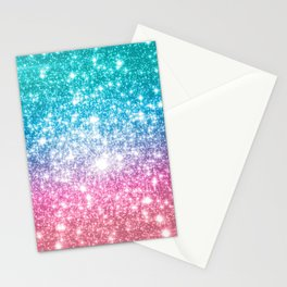 Mermaid Galaxy Sparkle Stars Stationery Cards