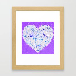blue and white heart shape with purple background Framed Art Print