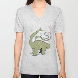 Diplodocus Rainbow Party Dino Unisex V-Neck