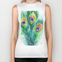 peacock feather Biker Tanks featuring Peacock feather  by Slaveika Aladjova