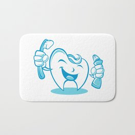 Smiling tooth with toothbrush and toothpaste Bath Mat