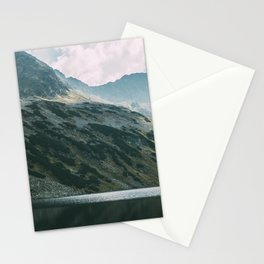 Moody Mountain Hill And Lake Stationery Cards