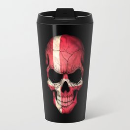 Dark Skull with Flag of Denmark Travel Mug