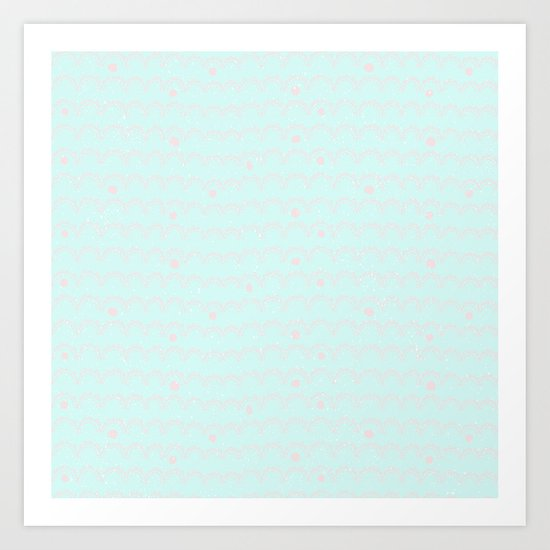 Merry aqua christmas - Funny abstract lines and dots on turquoise backround Art Print