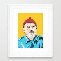 steve zissou Framed Art Prints featuring Steve Zissou by Jeroen van de Ruit