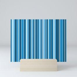 Light Sea Breeze Various Variegated Vertical Blue and White Stripes Mini Art Print
