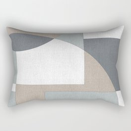 Geometric Intersecting Circles and Rectangles in Neutral Colors Rectangular Pillow