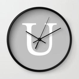 Silver Gray Basic Monogram U Wall Clock