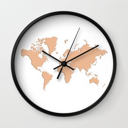 World with no Borders - peach Wall Clock