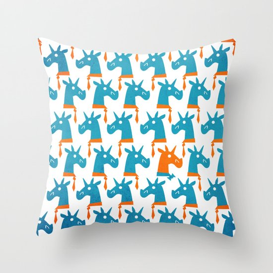 Throw Pillows Mustard Yellow : Bow Tie Optional Unicorn Throw Pillow by That s So Unicorny Society6