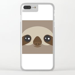 funny and cute smiling Three-toed sloth on brown background Clear iPhone Case
