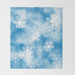 Christmas Elements Blue White Snowflakes Design Pattern Throw Blanket