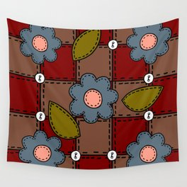 Retro Doodle Flower Style Quilt - Dark Red Brown Blue Wall Tapestry