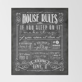 House Rules Retro Chalkboard Throw Blanket