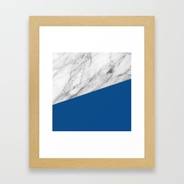 Marble and Lapis Blue Color Framed Art Print