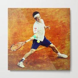 Kei Nishikori Tennis Metal Print