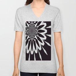 The Modern Flower Black & White Unisex V-Neck