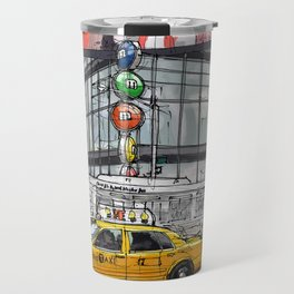 A corner in New York city and a yellow cab Travel Mug