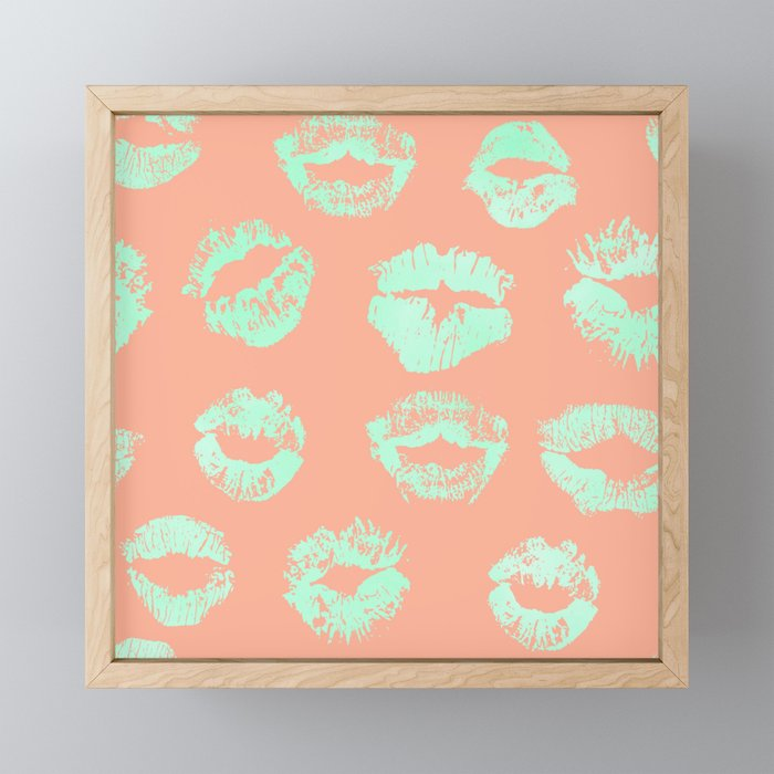 Sweet Life Lips Peach Coral + Mint Meringue Framed Mini Art Print