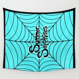 Bright Blue Spiderweb Logo Wall Tapestry