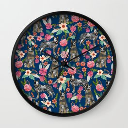 Australian cattle dog floral dog breed navy pet pattern custom gifts for dog lovers Wall Clock