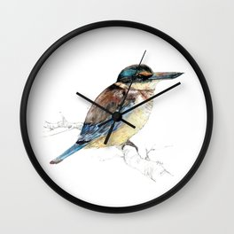Mr Kōtare, New Zealand native kingfisher bird Wall Clock