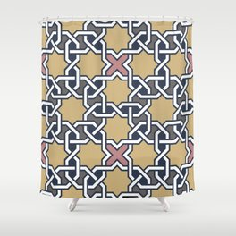 Entwined graphic Lines Home Design - mosaic grey beige Shower Curtain