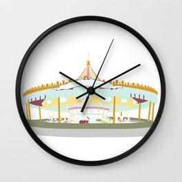 Carousel - white background Wall Clock