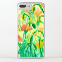 Sun drenched Poppies Clear iPhone Case