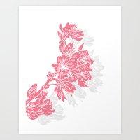 Cherry Blossom Pink Block Print Art Print