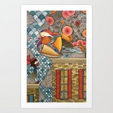 Rooftop Encounter Art Print