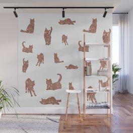 I Love Glitter I Love Cat Pattern Wall Mural