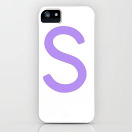 Purple S Scrabble Monogram Art iPhone Case