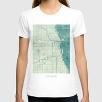 vintage map T-shirts featuring Chicago Map Blue Vintage by City Art Posters