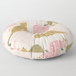 Pink Palm Tropical Cheetah Pattern Floor Pillow