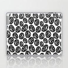 Monstera obliqua linocut black and white minimal house plants cute zen vibes yoga art Laptop & iPad Skin